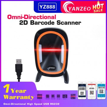 Yanzeo YZ888 Automatic Omni-Directional Omni 2D Barcode Scanner High Perfermance Desktop RS232 1D 2D Bar Code Reader for Supermarket Warranty 12 Months